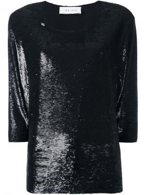 Блузка с пайетками и вырезом-лодочкой Iro. Цвет: металлический