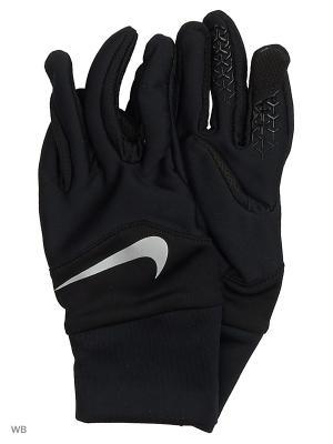 Женские перчатки для бега Nike. Цвет: черный, серебристый