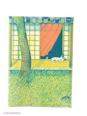 Обложка для автодокументов Белый кот на окне Mitya Veselkov. Цвет: зеленый