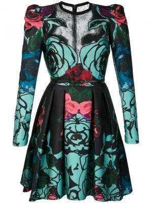 Расклешенное платье с розами Elie Saab. Цвет: чёрный