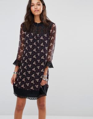 Anna Sui Платье с принтом полевых цветов. Цвет: фиолетовый