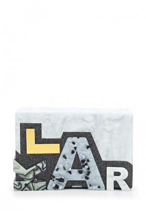 Клатч Karl Lagerfeld. Цвет: серебряный