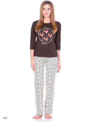 Комплект домашней одежды ( кофточка, брюки) HomeLike. Цвет: коричневый