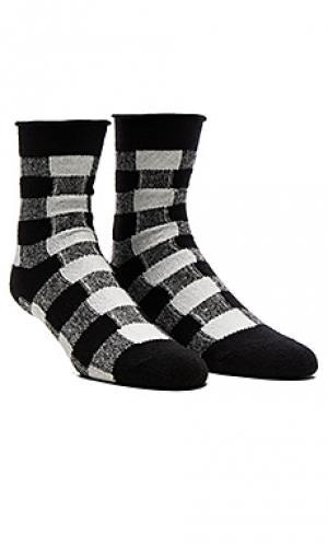 Тонкие носки из флиса с закрученным верхом Plush. Цвет: black & white