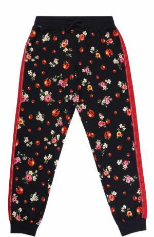 Хлопковые джоггеры с принтом и лампасами Dolce & Gabbana. Цвет: синий