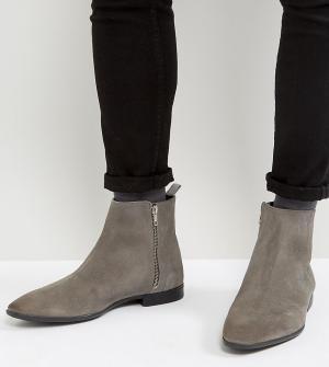 ASOS Серые замшевые ботинки челси для широкой стопы с заостренным носком и. Цвет: серый