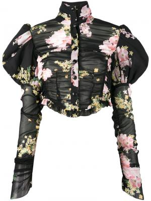 Блузка с буффами и цветочным принтом Alessandra Rich. Цвет: чёрный