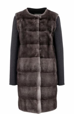 Пальто из смеси шерсти и кашемира с отделкой меха норки Yves Salomon. Цвет: серый