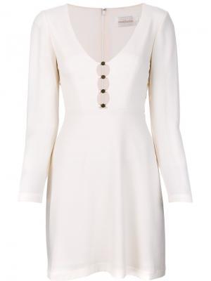 Мини-платье с металлической отделкой Zimmermann. Цвет: белый