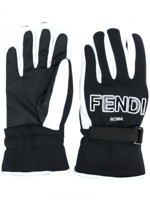 Перчатки с логотипами FF Fendi. Цвет: чёрный