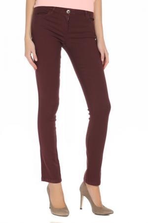 Облегающие брюки стрейч Alysi. Цвет: бордовый