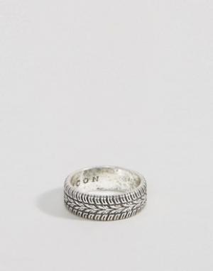 Icon Brand Серебристое кольцо с гравировкой. Цвет: серебряный