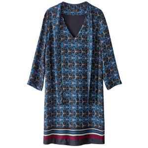 Платье-балахон из сатина с платочным рисунком La Redoute Collections. Цвет: рисунок/фон темно-синий