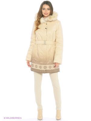 Утепленные пальто L-design. Цвет: бежевый