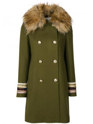 Двубортное пальто Bazar Deluxe. Цвет: зелёный