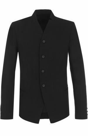 Однобортный пиджак из смеси шерсти и льна Masnada. Цвет: черный