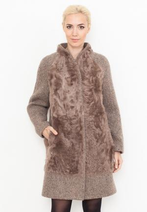 Пальто Prima Woman. Цвет: коричневый