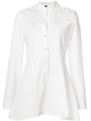Embroidered peplum shirt Josie Natori. Цвет: белый