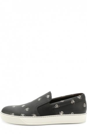 Кожаные слипоны с принтом Lanvin. Цвет: черный