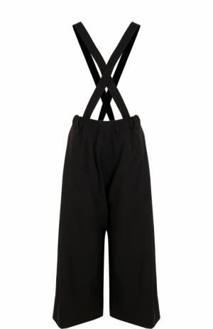 Шерстяные укороченные брюки с подтяжками Isabel Benenato. Цвет: черный