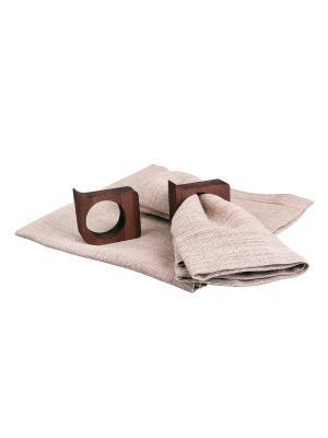 Набор из двух декоративных салфеток 45х45 см с деревянными кольцами Ecowoo. Цвет: коричневый