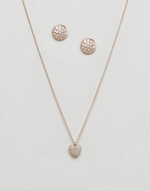 Michael Kors Подарочный набор с ожерельем и серьгами-гвоздиками. Цвет: золотой