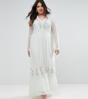 Frock and Frill Plus Декорированное платье макси с завязками. Цвет: зеленый