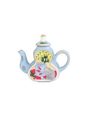 Сувенир-чайник Кот у аквариума Elan Gallery. Цвет: голубой, желтый