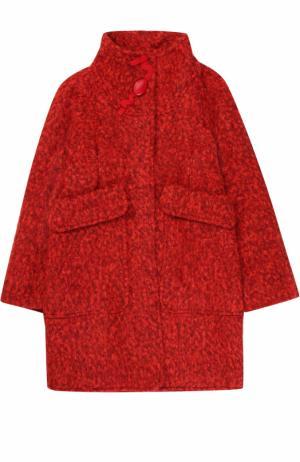 Пальто прямого кроя с воротником стойкой и объемными карманами I Pinco Pallino. Цвет: красный