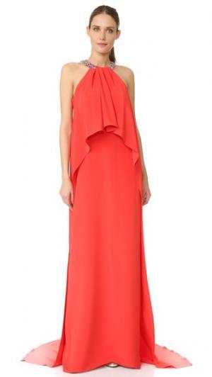 Драпированное вечернее платье с завязками уздечкой Monique Lhuillier. Цвет: герань