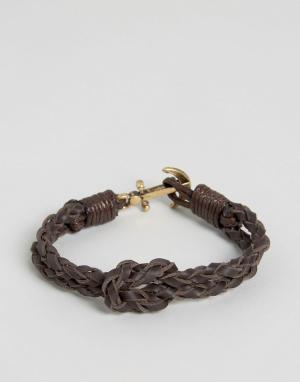 Icon Brand Коричневый кожаный браслет с якорем. Цвет: коричневый
