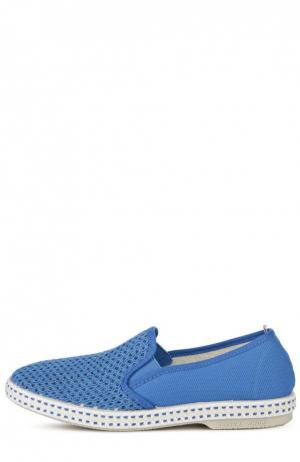 Слипоны с текстильной сеткой Rivieras Leisure Shoes. Цвет: голубой