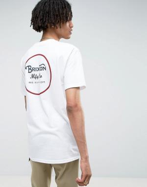 Brixton Футболка с принтом на спине Wheeler. Цвет: белый