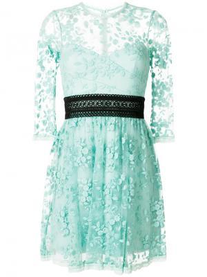 Кружевное платье Reflection ампирного силуэта Three Floor. Цвет: зелёный