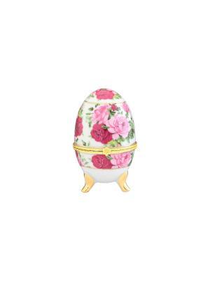 Шкатулка-яйцо Розовый букет Elan Gallery. Цвет: розовый, белый, зеленый