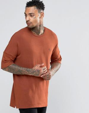 Criminal Damage Футболка с заниженной линией плеч. Цвет: оранжевый