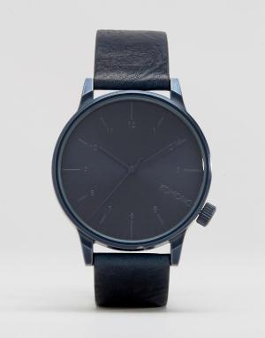 Komono Часы с синим кожаным ремешком Winston. Цвет: синий