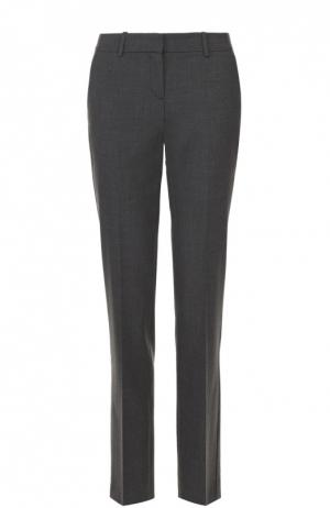 Укороченные брюки прямого кроя со стрелками Theory. Цвет: темно-серый