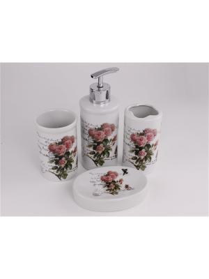 Набор для ванной 4 предмета PATRICIA. Цвет: розовый, белый