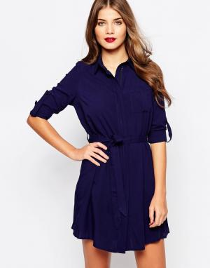 Club L Свободное платье-рубашка. Цвет: темно-синий
