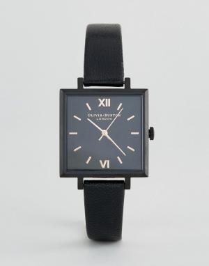 Olivia Burton Часы с кожаным ремешком и большим квадратным циферблатом. Цвет: черный