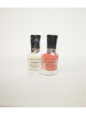 Спайка Mega Last лаки для ногтей ,  тон e2022 и e2123 Wet n Wild. Цвет: белый, оранжевый