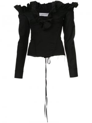 Блузка с оборчатым V-образным вырезом Marquesalmeida Marques'almeida. Цвет: чёрный