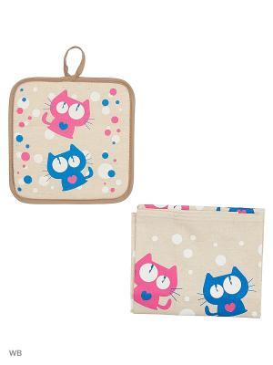 Полотенце льняное Котики Сердечки GrandStyle. Цвет: бирюзовый, серый, розовый