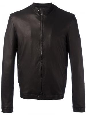 Кожаная куртка с узким воротником Salvatore Santoro. Цвет: чёрный