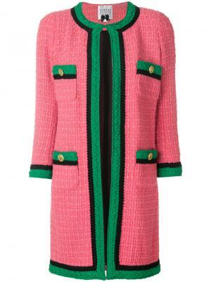 Удлиненный твидовый пиджак Edward Achour Paris. Цвет: розовый и фиолетовый