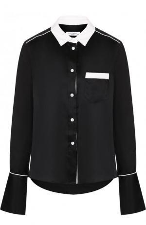 Шелковая блуза свободного кроя с контрастной отделкой Equipment. Цвет: черный