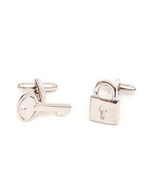 Запонки свадебные ключ и замок Churchill accessories. Цвет: серебристый