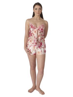 Комплект (топ, шорты) Monti Liv'eri. Цвет: молочный, малиновый, персиковый, розовый
