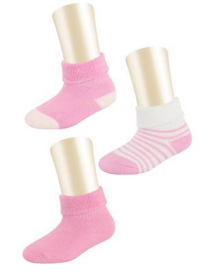 Носки, 3 пары Glamuriki. Цвет: розовый